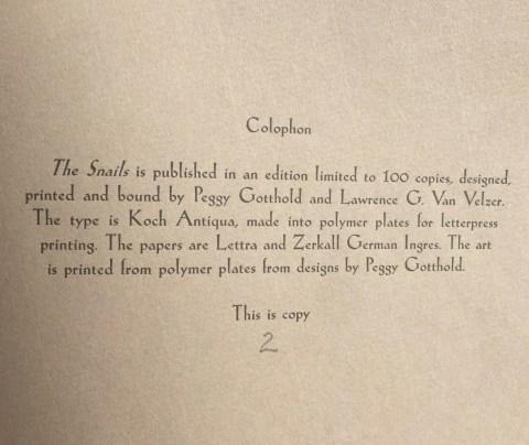 The Snails, Foolscap Press, Colophon