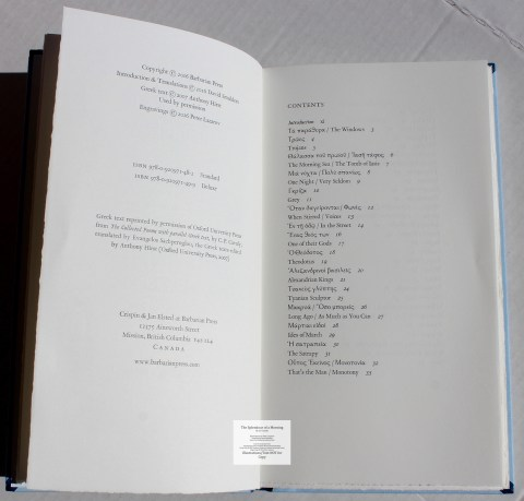 The Splendour of a Morning, Barbarian Press, Copyright and Contents
