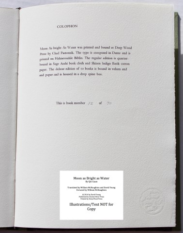Moon as Bright as Water, Chester River Press, Colophon