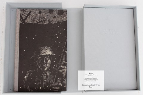 Slipcase containing the book 'Winter' and a clamshell box with folded broadsides