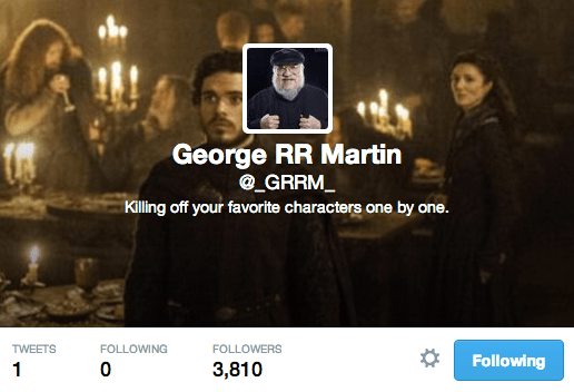 George RR Martin's Twitter Account - 8:37 a.m.