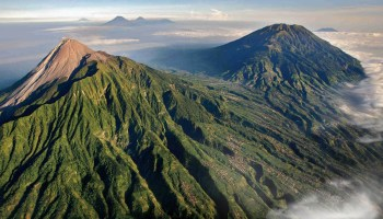 Mount Merapi, a volcano in Indonesia
