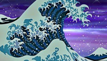 "Japanese-style wave, a modern interpretation of Under the Wave off Kanagawa"" by Hokusai."