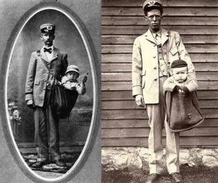 two postal carriers stand with babies in their mail bags (like a totebag, rucksack) The photos are from approximately 1913