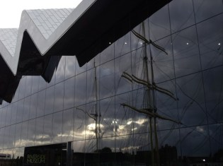 Tall ship reflected in the Riverside Museum