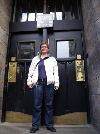 Me at the front door of Glasgow School of Arts