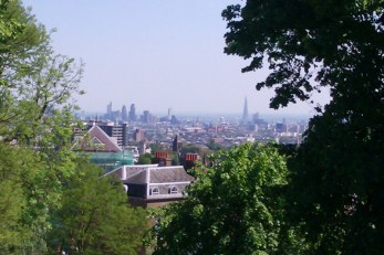 View of Central London from the balcony at Fenton House
