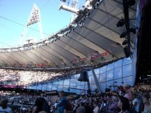 The lage bell inside the Olympic Stadium