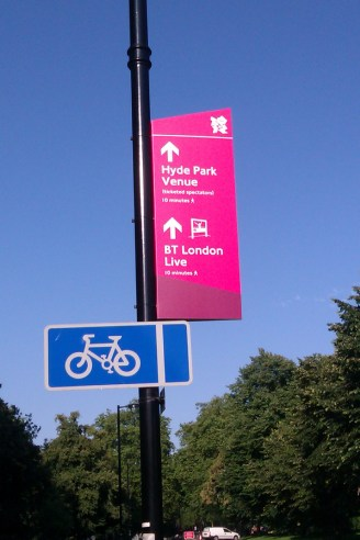 Olympic signage in Hyde Park