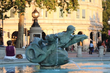 Trafalgar Square fountain in evening light