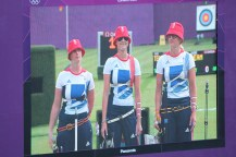 Team GB being introduced on the big screens