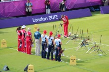 Team GB and Russia lining up