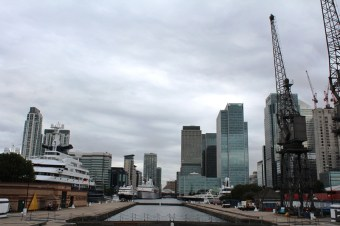 Luxury yachts and MS Deutschland at South Quay