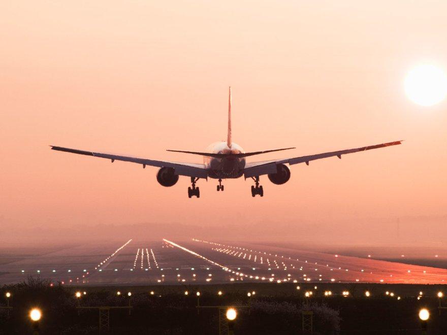 plane on sunset