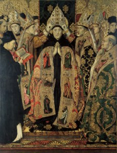The Consecration of Augustine by Jaume Huguet, c. 1470. This painting seems to miss the aspect of poverty central to The rule of Augustine. (See Apostolic Poverty.)