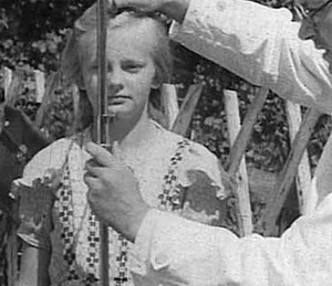 A child being measured for inclusion among the Lebensborn, the 'Font of Life.' The measurements are to insure that she has no Semitic features.
