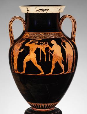Amphora, Herakles, Apollo, Delphic tripod, Antokides painter
