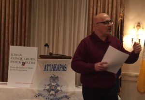 Joseph N. Abraham, MD, speaking to the Sons of the American Revolution - Attakapas Chapter.