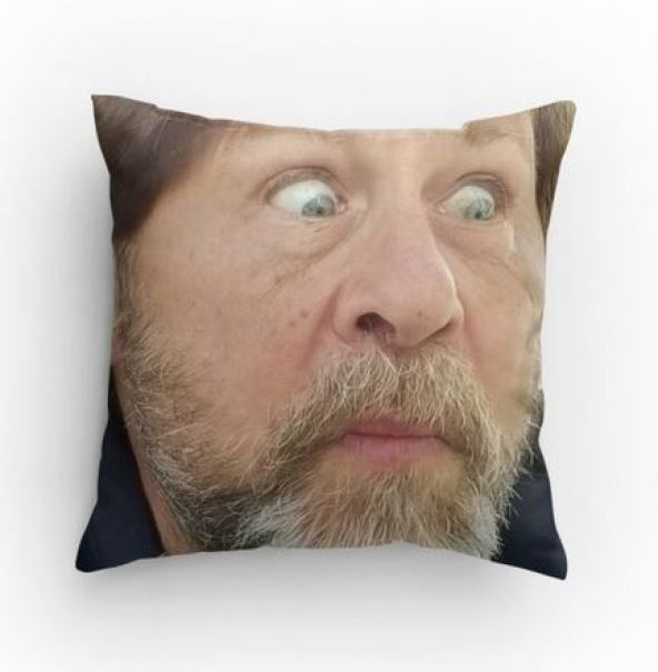 Caught me by surprise! throw pillow