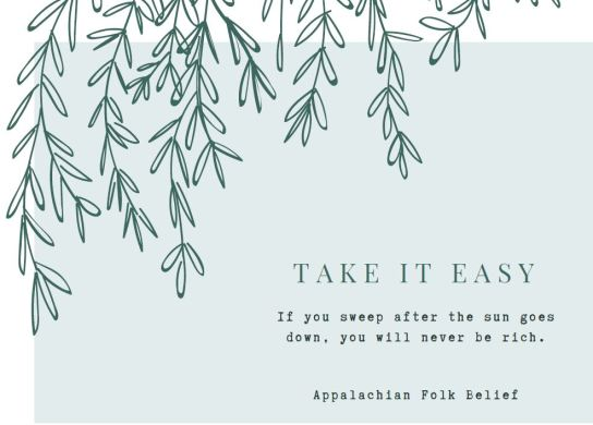 Take it easy note card front