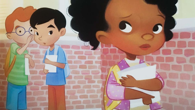 racist whispering against Black girl