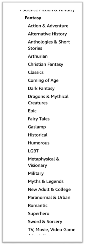 All Fantasy Categories (over 20!)