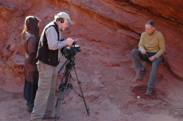 Filmmaker Laura Kamala with cinematographer Doug Crawford and Brooke Williams, Photo courtesy Debra Anderson