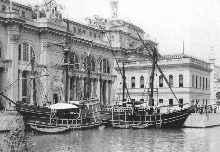 NiñaandPintareplicas at the 1893 Columbian Exposition (Chicago World's Fair in the U.S.) courtesy of Wikipedia image by C. D. Arnold (1844-1927); H. D. Higinbotham