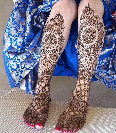 Мехенди на ноге - фото рисунков хной