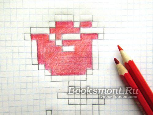 빨간색 연필 사용 꽃 센터 페인트
