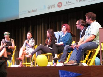 From left to right: Veronica Roth, Marie Lu, Renée Ahdieh, Claudia Gray, Marcus Sedgwick, Neal Shusterman