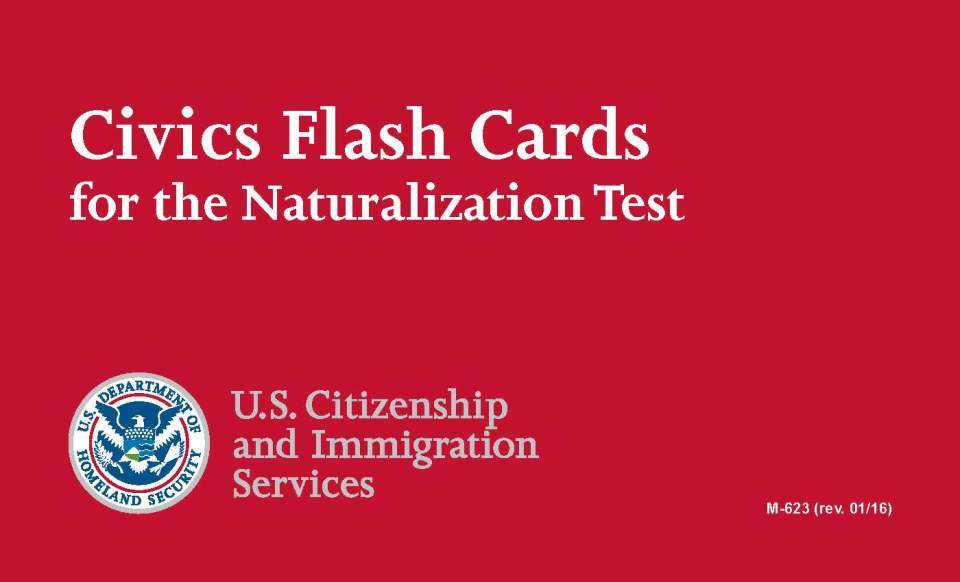 Civics Flash Cards For The Naturalization Test U S