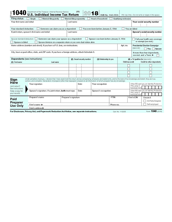 2018 IRS Tax Form 1040 | U.S. Government Bookstore
