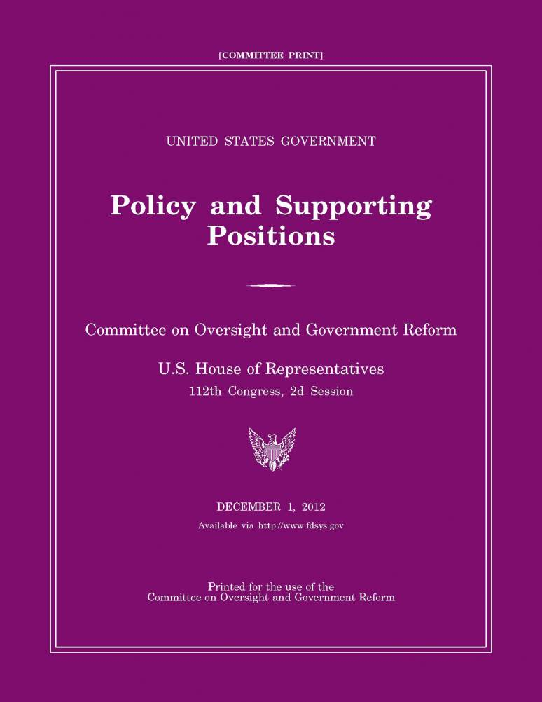 United States Government Policy and Supporting Positions 2012 (Plum Book)