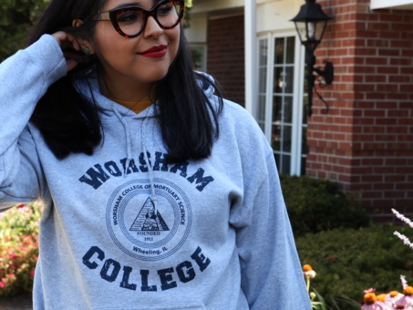 Student wearing Hooded Sweatshirt
