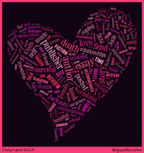 wordcloud of BooksYALove terms in heart shape