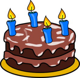 cartoon of chocolate cake with 4 birthday candles