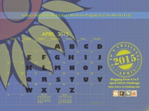 graphic of April AtoZ blog challenge 2015 calendar