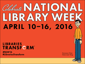 Logo for National Library Week 2016 featuring Gene Luen Yang | BooksYALove.com