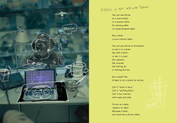 "poem ""A Desk is Not a Dinner Table"" from A Moose Boosh by Eric-Shabazz Larkin 