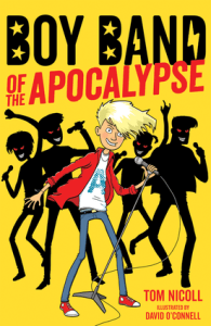book cover of Boy Band of the Apocalypse by Tom Nicoll, published by Kane Miller EDC | recommended on BooksYALove.com