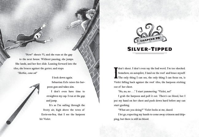 "2 pages: end of chapter 28 showing Herbie leaping to another rooftop as harpoon speeds toward him and Violet, and start of chapter 29 ""Silver-Tipped"""