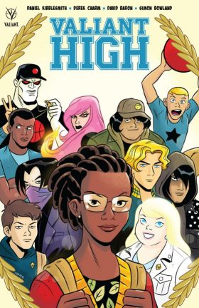 book cover of Valiant High, graphic novel by Daniel Kibblesmith & Derek Charm. Published by Valiant Entertainment | recommended on BooksYALove.com