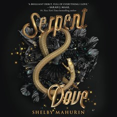 CD cover of Serpent & Dove,  by Shelby Mahurin. Read by Holter Graham & Saskia Maarleveld. Published by HarperAudio | recommended on BooksYALove.com
