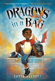Book cover of Dragons in a Bag, by Zetta Elliott, art by Geneva B. Published by Yearling-Random House | recommended on BooksYALove.com