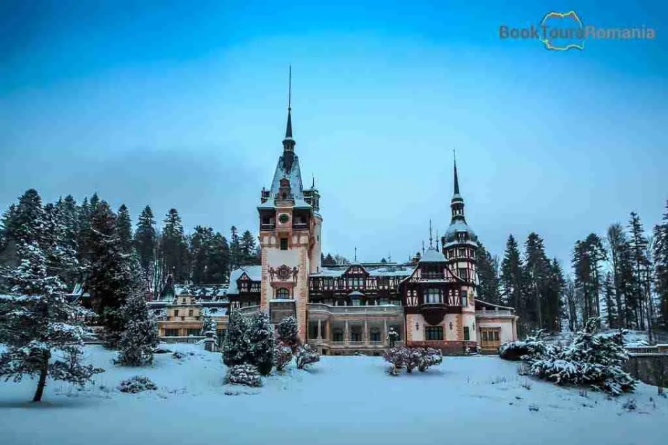 View over the Peles Castle during winter