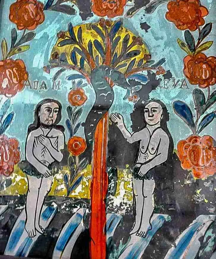 Adam and eve paint on glass