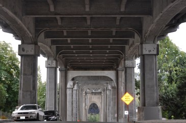The Fremont Troll's view of the Aurora Bridge.