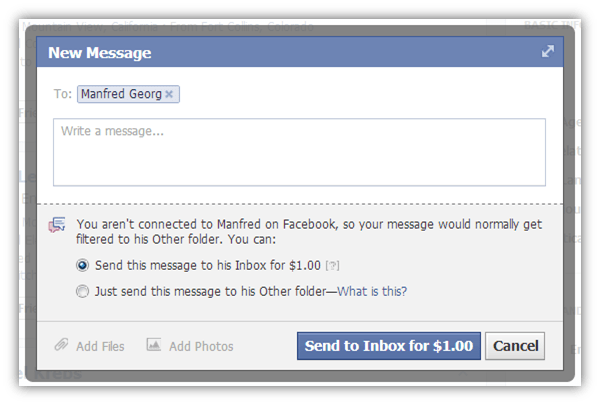 Facebook charges 1 dollar for messages