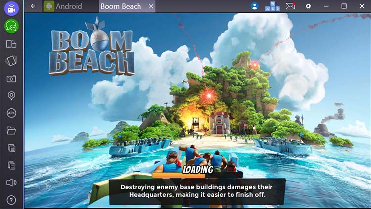 Boom Beach on laptop